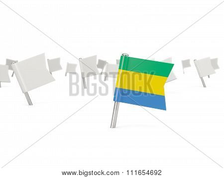 Square Pin With Flag Of Gabon
