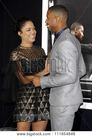 Tessa Thompson and Michael B. Jordan at the Los Angeles premiere of 'Creed' held at the Regency Village Theatre in Westwood, USA on November 19, 2015.