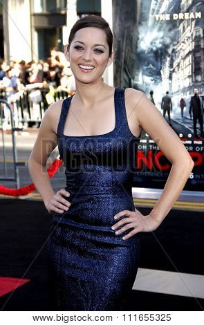 HOLLYWOOD, CALIFORNIA - July 13, 2010. Marion Cotillard at the Los Angeles premiere of