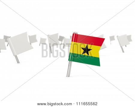 Square Pin With Flag Of Ghana
