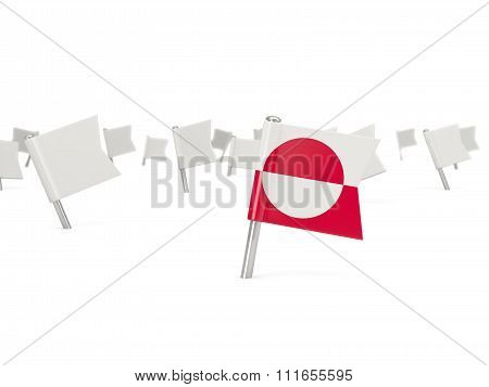 Square Pin With Flag Of Greenland