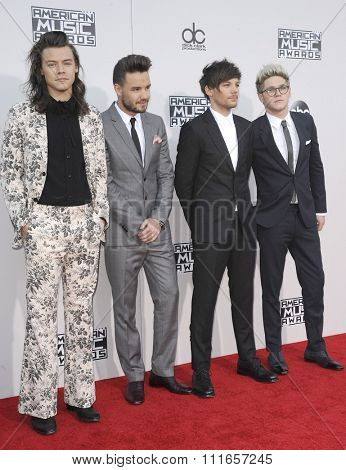 Liam Payne, Louis Tomlinson, Niall Horan and Harry Styles of One Direction at the 2015 American Music Awards held at the Microsoft Theater in Los Angeles, USA on November 22, 2015.