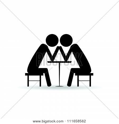 Arm Wrestling Vector Black Symbol