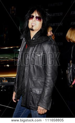 HOLLYWOOD, CALIFORNIA - November 22, 2010. Nikki Sixx at the Los Angeles premiere of