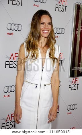 HOLLYWOOD, CALIFORNIA - November 3, 2011. Hilary Swank at the AFI Fest 2011 Opening Night Gala World Premiere Of