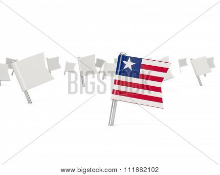 Square Pin With Flag Of Liberia