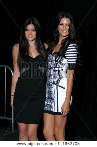 Kylie Jenner and Kendall Jenner at the Kardashian Kollection Launch Party held at the Colony in Los Angeles, California, United States on August 17, 2011.