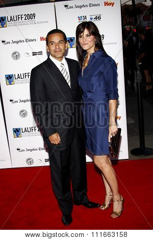 Lu Parker and Antonio Villaraigosa at the 13th Annual LALIFF Opening Night & Gabi Lifetime Achievement Award Gala held at the Grauman's Chinese Theater in Hollywood, USA on October 11, 2009.