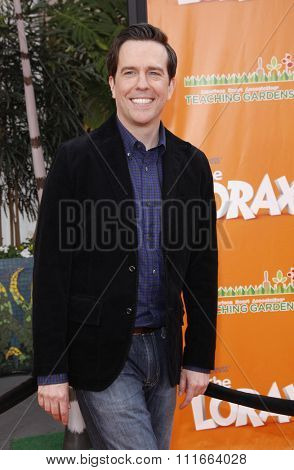 HOLLYWOOD, CALIFORNIA - February 19, 2012. Ed Helms at the Los Angeles premiere of