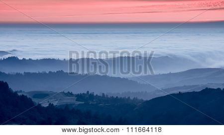 Sunset over California Rolling Hills
