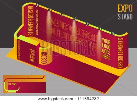 Rectangular Yellow And Purple Exhibition Booth