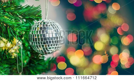 Christmas Ornaments On The Christmas Tree With Bokeh Background