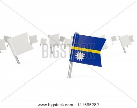 Square Pin With Flag Of Nauru