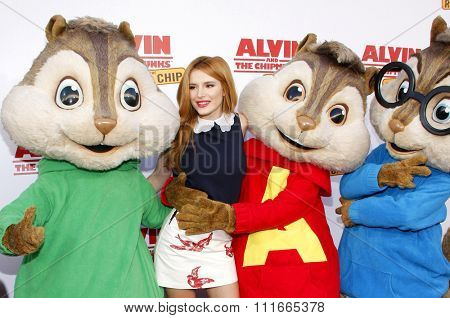 Bella Thorne at the Los Angeles premiere of 'Alvin And The Chipmunks: The Road Chip' held at the Zanuck Theater in Los Angeles, USA on December 12, 2015.