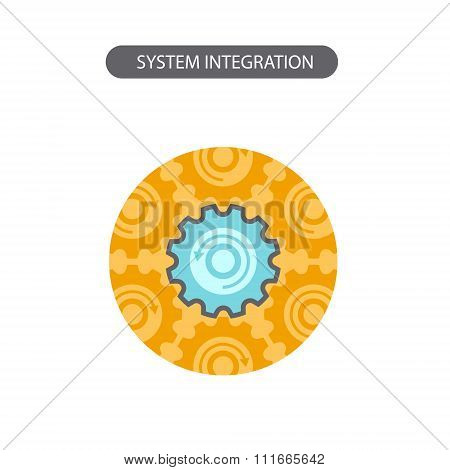 Line icon with flat design elements of business concepts, system integration. Modern vector pictogra