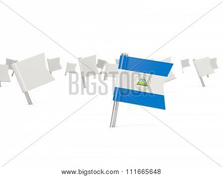 Square Pin With Flag Of Nicaragua