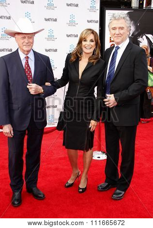 Larry Hagman, Linda Gray and Patrick Duffy at the 2012 TCM Classic Film Festival Opening Night Gala held at the Grauman's Chinese Theater, California, United States on April 12, 2012.