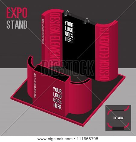 Blank Square Pink Exhibition Booth