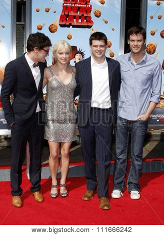 Anna Faris, Phil Lord, Chris Miller and Bill Hader at the Los Angeles Premiere of