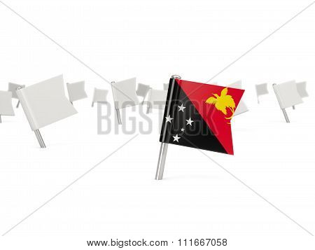 Square Pin With Flag Of Papua New Guinea