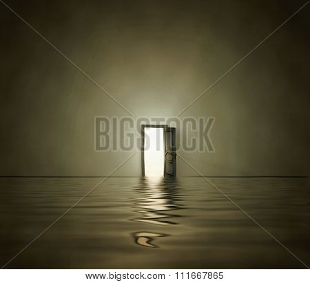 Open doorway in surreal space