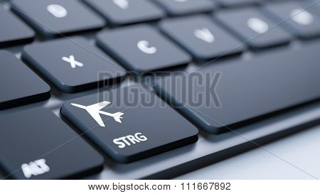 A black keyboard with a flight mode sign