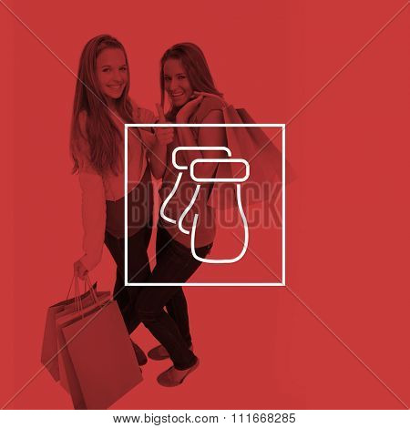 Two beautiful young women with shopping bags the thumbup against mittens
