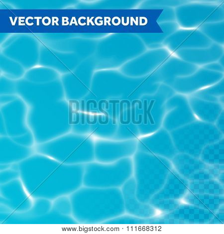 Vector seamless water background with sunlight reflections on transparent background.