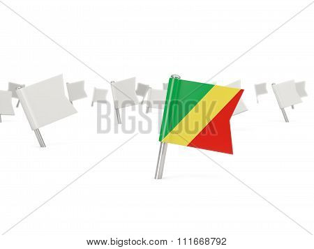 Square Pin With Flag Of Republic Of The Congo