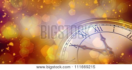 Digitally generated image of a clock against orange abstract light spot design