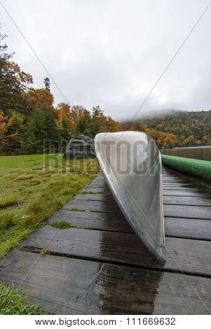 Bow Of Canoe On Rainy Day