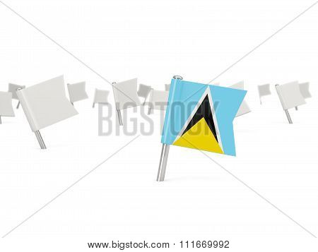 Square Pin With Flag Of Saint Lucia