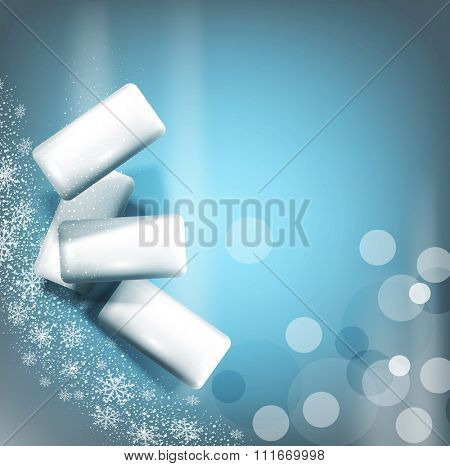 background with bubble gum on gray-blue background with snowflakes (imitation 3d)