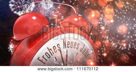 Frohes neues jahr in red alarm clock against white fireworks exploding on black background