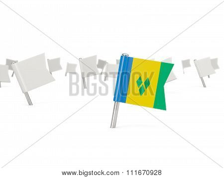 Square Pin With Flag Of Saint Vincent And The Grenadines