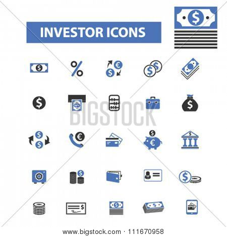 investor icons, banking and finance, investment, investment banking icons