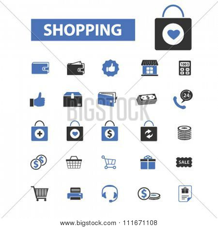 supermarket shopping retail  icons, signs vector set for infographics, mobile, website, application