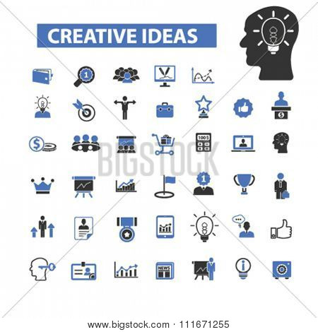 creative ideas, creativity, creative thinking, creative marketing  icons, signs vector set for infographics, mobile, website, application