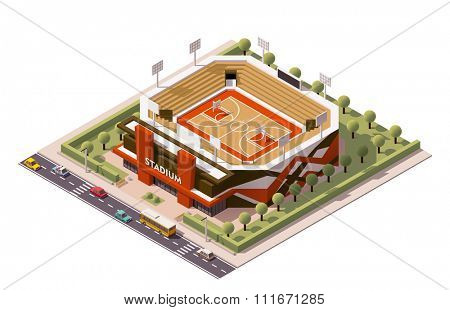 Isometric icon representing basketball stadium