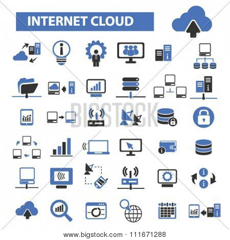 internet cloud icon, clouding, web, computer network, connection, hosting, database, pc  icons, signs vector set for infographics, mobile, website, application