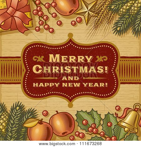 Vintage Merry Christmas Card. Fully editable EPS10 vector illustration with clipping mask and transparency.
