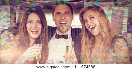 Colour frame against pretty girls with ladies man in the limousine
