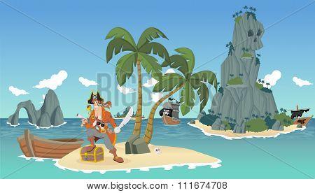 Cartoon pirates on a beautiful tropical beach with gold chest
