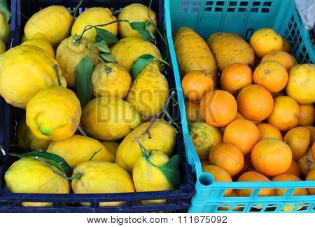 Lemons And Oranges In Baskets