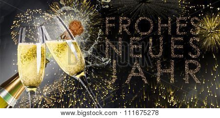 Champagne popping against glittering frohes neues jahr