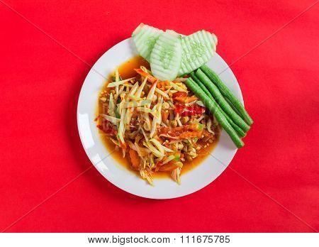 Famous Thai Food, Papaya Salad On Red Background