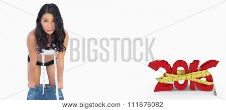 Self confident woman who lost weight against white background with vignette