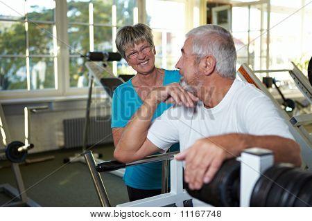 Happy Seniors In Gym