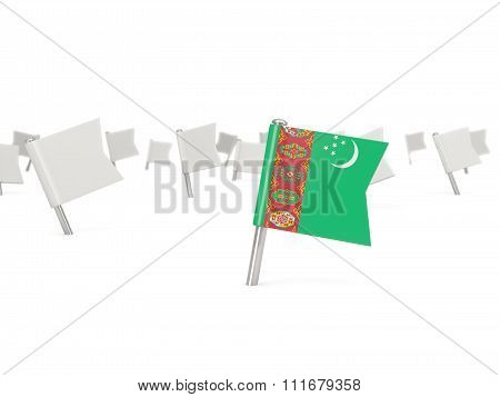 Square Pin With Flag Of Turkmenistan