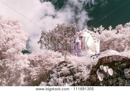 Sculpture Of Buddha At Mountain, Thailand Taken In Near Infrared